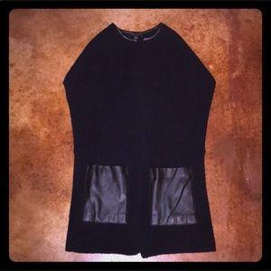Ann Taylor L wool blend vest w/ faux leather trim